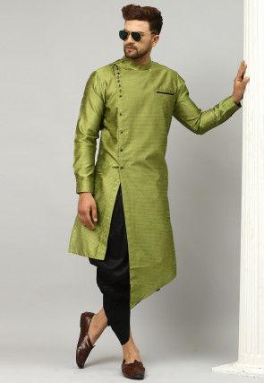 Woven Dupion Silk Jacquard Asymmetric Dhoti Kurta in Green