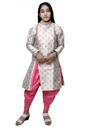 Woven Dupion Silk Jacquard Dhoti Kurta Set in Off White
