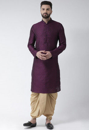 Woven Dupion Silk Jacquard Dhoti Kurta in Purple