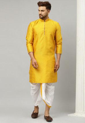 Woven Dupion Silk Jacquard Dhoti Kurta in Yellow