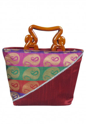 Woven Dupion Silk Jacquard Hand Bag in Maroon and Multicolor