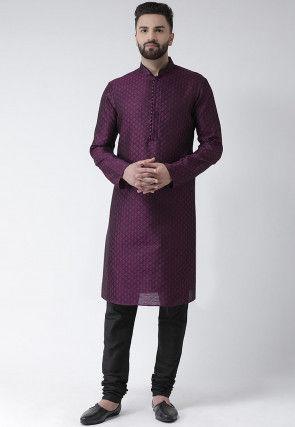 Woven Dupion Silk Jacquard Kurta Set in Purple