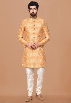 Woven Dupion Silk Jacquard Sherwani in Light Orange