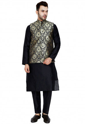 Woven Dupion Silk Kurta Jacket Set in Black