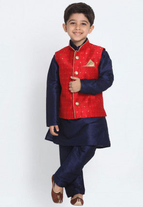 Woven Dupion Silk Kurta Jacket Set in Navy Blue and Red