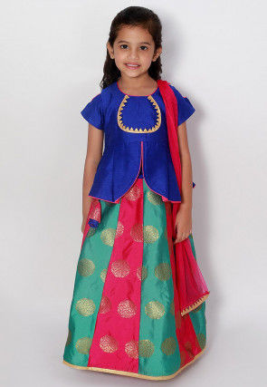 Woven Dupion Silk Lehenga in Royal Blue