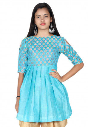 Woven Dupion Silk Pleated Kurti in Sky Blue