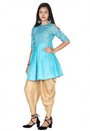 Woven Dupion Silk Pleated Kurti Set in Sky Blue