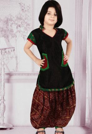 Woven Dupion Silk Punjabi Suit in Black