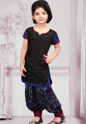 Woven Dupion Silk Punjabi Suit in Black