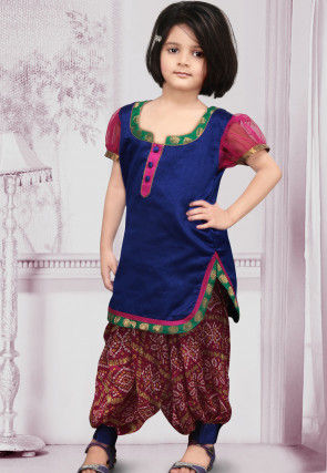 Woven Dupion Silk Punjabi Suit in Blue
