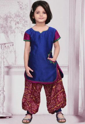 Woven Dupion Silk Punjabi Suit in Blue