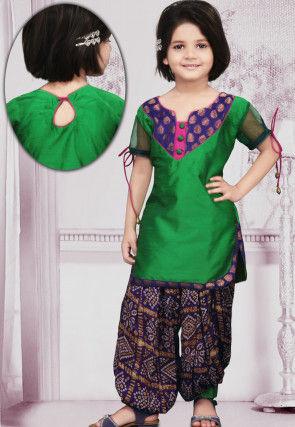 Woven Dupion Silk Punjabi Suit in Green