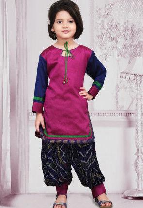 Woven Dupion Silk Punjabi Suit in Magenta