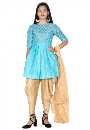 Woven Dupion Silk Punjabi Suit in Sky Blue