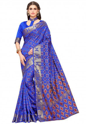 Woven Dupion Silk Saree in Blue