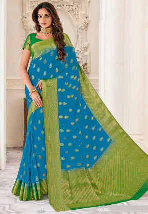 Woven Crepe Saree in Blue