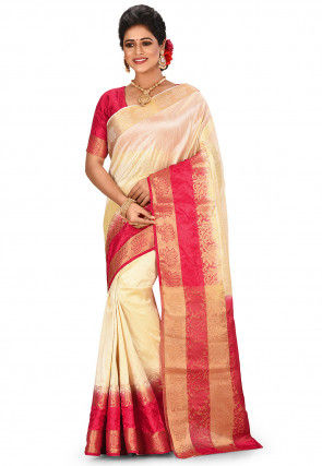 Woven Dupion Silk Saree in Light Beige