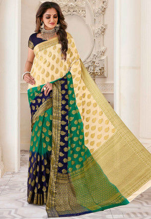 Woven Dupion Silk Saree in Multicolor