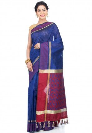 Woven Dupion Silk Saree in Navy Blue