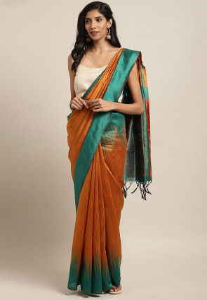 Woven Dupion Silk Saree in Rust
