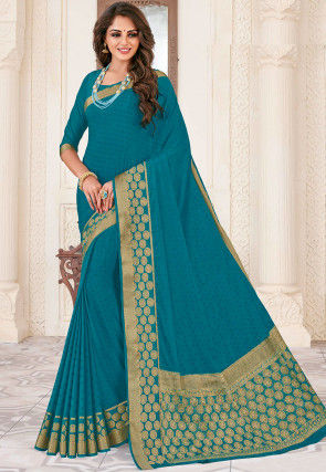 Woven Dupion Silk Saree in Teal Blue
