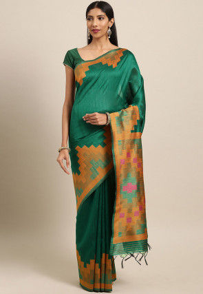 Woven Dupion Silk Saree in Teal Green