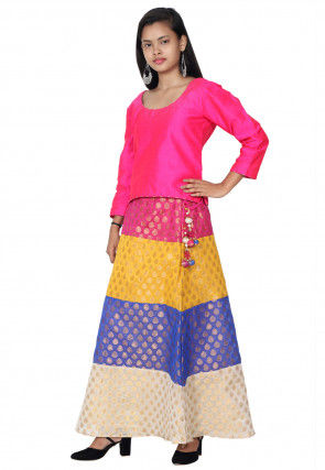 Woven Dupion Silk Top Set in Fuchsia