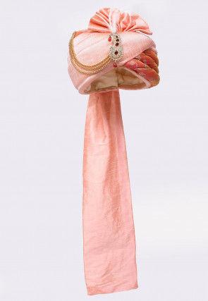 Woven Dupion Silk Turban in Peach