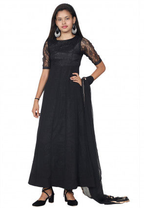 Woven Georgette Abaya Style Suit in Black