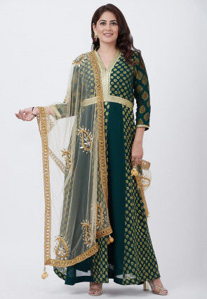 Woven Georgette Abaya Style Suit in Dark Teal Blue