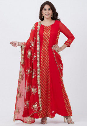 Woven Georgette Abaya Style Suit in Red