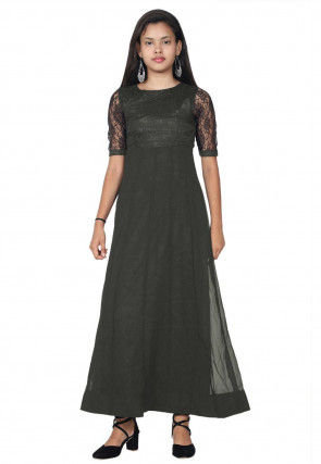 Woven Georgette Anarkali Kurta in Black
