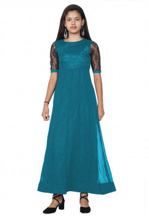 Woven Georgette Anarkali Kurta in Teal Blue