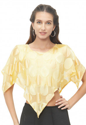 Woven Georgette Brasso Asymmetric Cape Style Blouse in Yellow