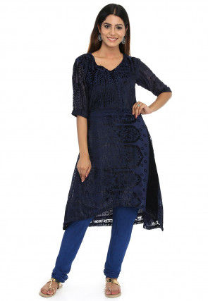 Woven Georgette Brasso Asymmetric Kurta in Navy Blue