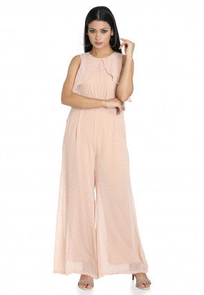 Woven Georgette Brasso Jumpsuit in Light Peach