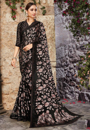 Woven Georgette Brasso Saree in Black