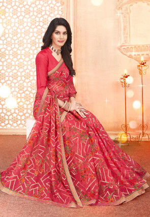 Woven Georgette Brasso Saree in Coral Pink