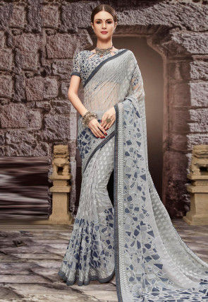 Woven Georgette Brasso Saree in Grey