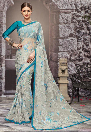 Woven Georgette Brasso Saree in Light Grey