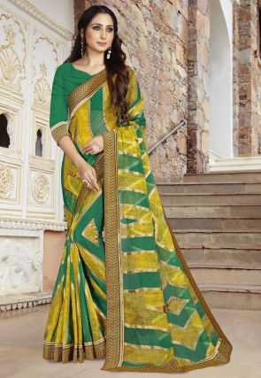 Woven Georgette Brasso Saree in Mustard and Teal Green