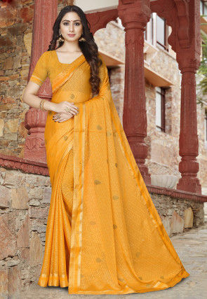 Woven Georgette Brasso Saree in Mustard