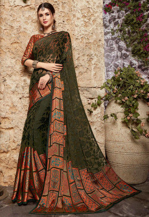 Woven Georgette Brasso Saree in Olive Green