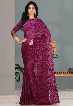 Woven Georgette Brasso Saree in Purple