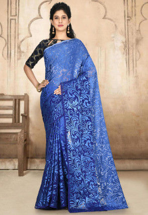 Woven Georgette Brasso Saree in Shaded Blue