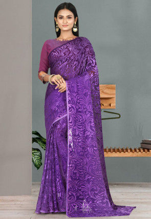 Woven Georgette Brasso Saree in Shaded Purple