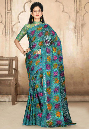 Woven Georgette Brasso Saree in Teal Blue