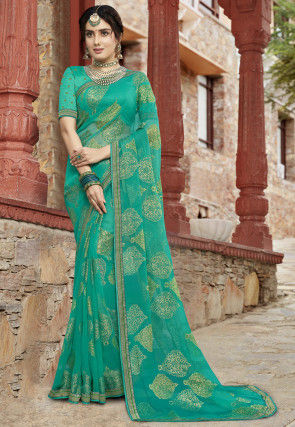 Woven Georgette Brasso Saree in Teal Green
