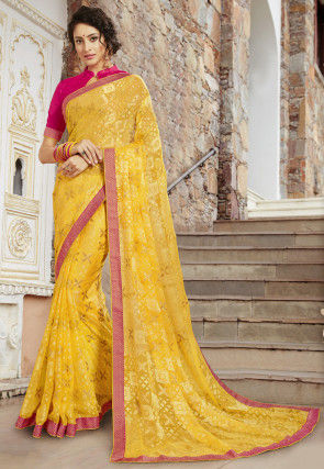 Woven Georgette Brasso Saree in Yellow